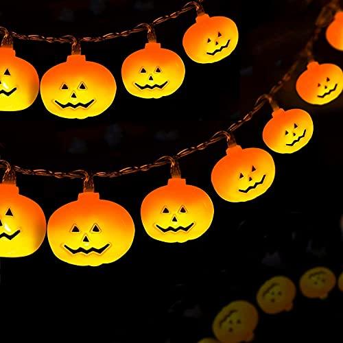 Luces Halloween,3M 20LED Halloween Calabaza Cadena de Luces,Calabaza...