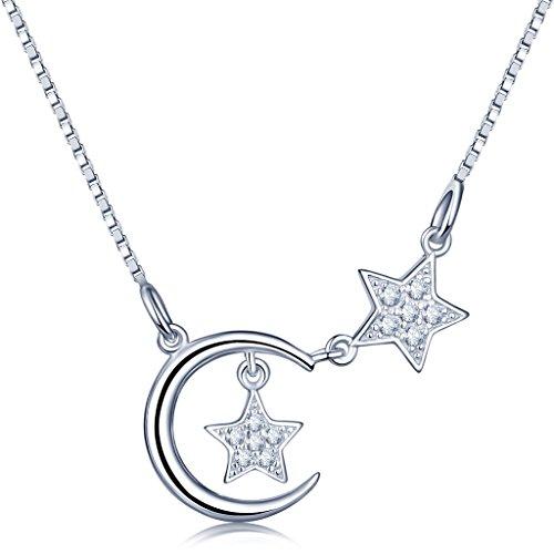 Unendlich U-Collar con colgante de estrellas dobles y media luna plata...