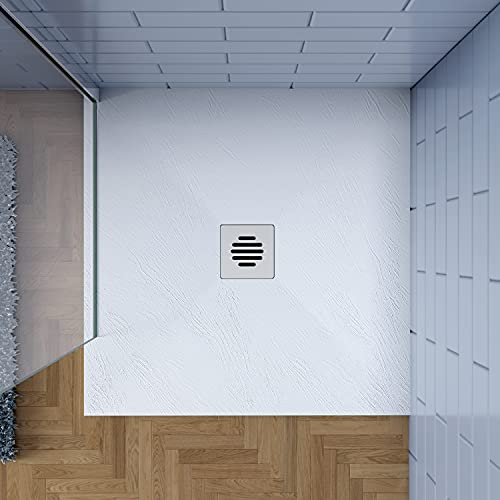 80x80cm Plato de ducha AICA blanco textura pizarra+Accesorios de...