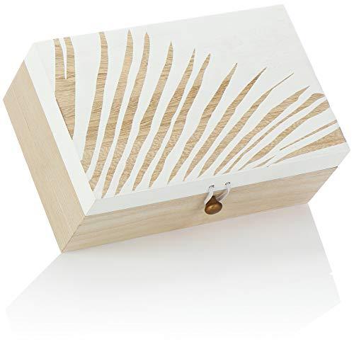 com-four® Caja de Madera con Tapa y Cerradura de tensión - Caja de Almacenamiento de Madera rústica - Cofre del Tesoro Decorado Moderno (01 Pieza - Blanco marrón Claro)