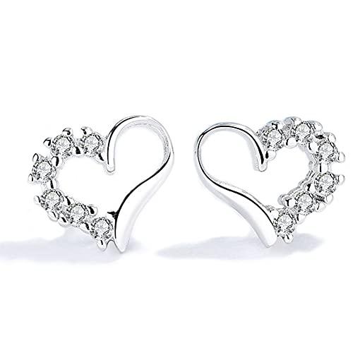 Pendientes de corazón de plata para mujer Pendientes de plata 925...