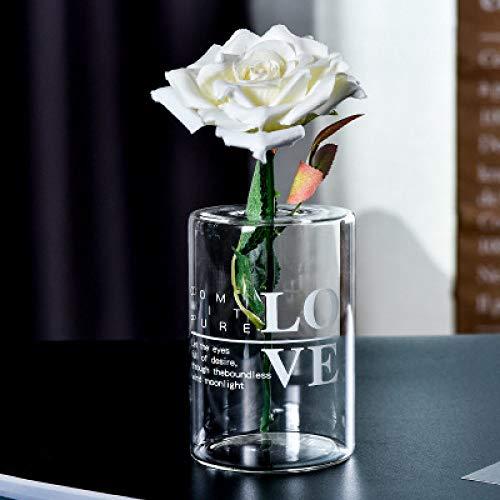 LJQLXJ florero Jarrón de Cristal con Letras Transparentes Creativas, florero hidropónico, decoración para el hogar, Boda, Barra de Botellas de Flores, Amor A