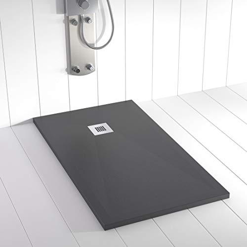Shower Online Plato de ducha Resina PLES - 90x200- Textura Pizarra -...