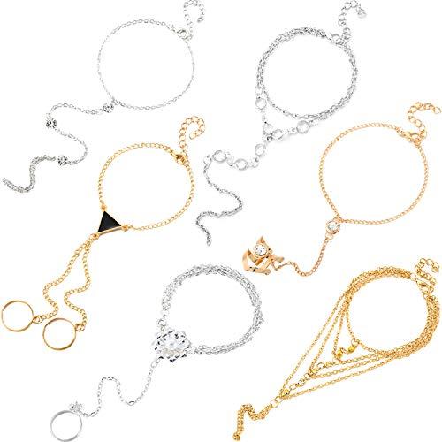 6 Piezas Pulsera y anillo de esclavos Pulsera de arnés de mano...