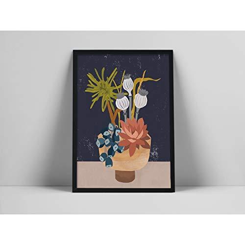 N/A Pintura de Lienzo Impresión Cuadro Lámina botánica Moderna, Arte asiático Minimalista, Lámina Floral, WABI Sabi Hogar Pared Decoracion Regalo16x24
