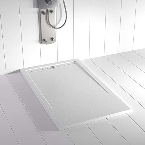 Shower Online Plato de ducha Resina FLOW - 80x130 - Textura Pizarra -...