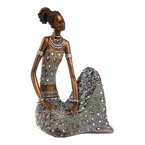 Figura de Africana Envejecida de Resina Dorada y Azul de 14x14x24 cm -...