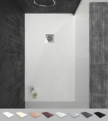 VAROBATH -Plato de ducha de Resina Blanco , extraplano,...