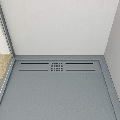 VAROBATH - Plato de ducha de Resina, color Gris Cemento URBAN STONE....