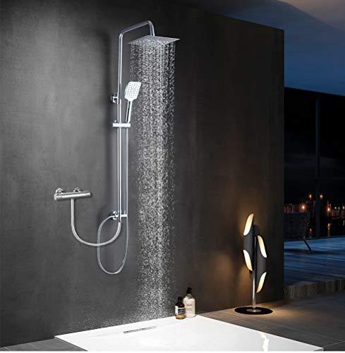 Elbe®Columna ducha sin grifo, con cabezal de ducha cuadrado de 20 cm...