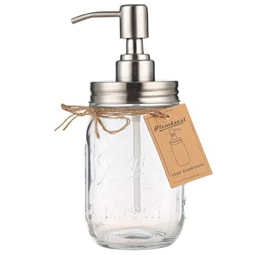 Dispensador de jabón Plomkeest de 16 oz Mason Jar de vidrio...