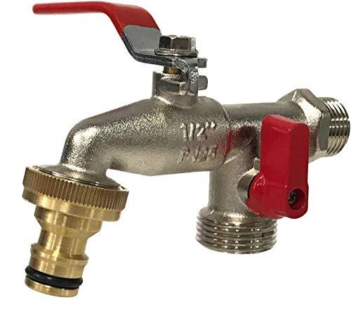 Aqua Control G6354 Grifo de Jardín Premium de Doble Salida 1/2'' - 3/4''