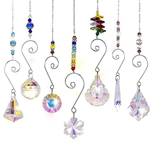 Queta Atrapasoles de Cristal 7pcs Colgantes de Cristal de Colores...