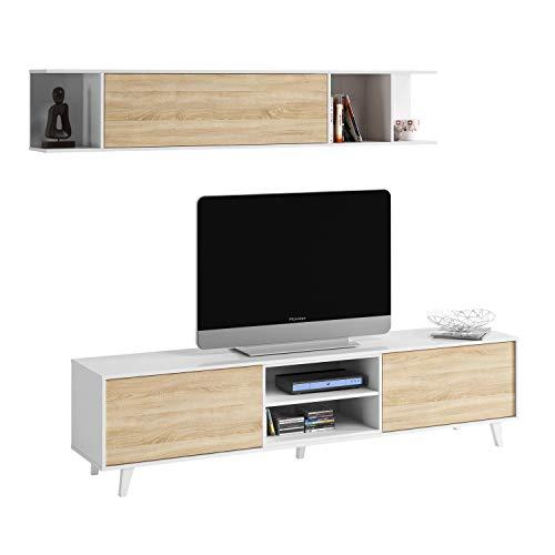 Mueble de salón, Comedor, Módulo TV + Estante, Modelo Zaiken Plus,...