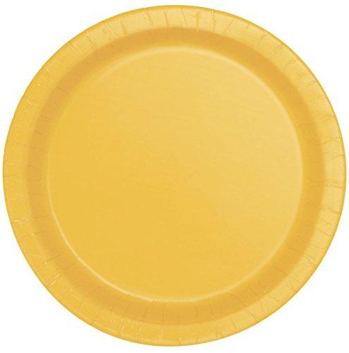 Unique Party - Platos de Papel - 17.1 cm - Amarillo - Paquete de 20...