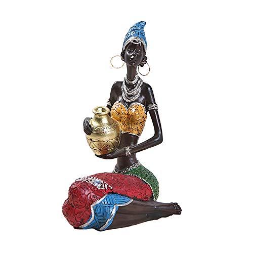 Baoblaze Figuras africanas, Escultura Decorativa para Mujer florero centros de Mesa para Comedor Mesa Tribal Lady Estatua Vintage Regalo muñeca Hecha a Mano - de Oro