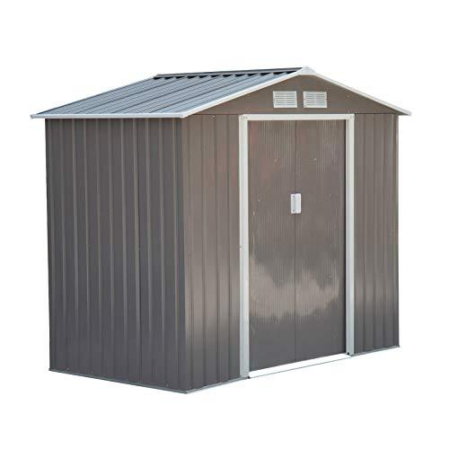 Outsunny Caseta de Jardín Tipo Cobertizo Metálico para Almacenamiento de Herramientas Base Incluida 4 Ventanas 213x130x185 cm Acero Gris