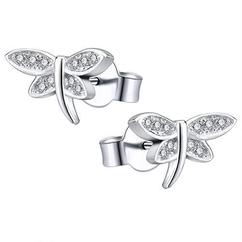 AoedeJ Aretes de cristal con libélula Pendientes de plata de ley 925...