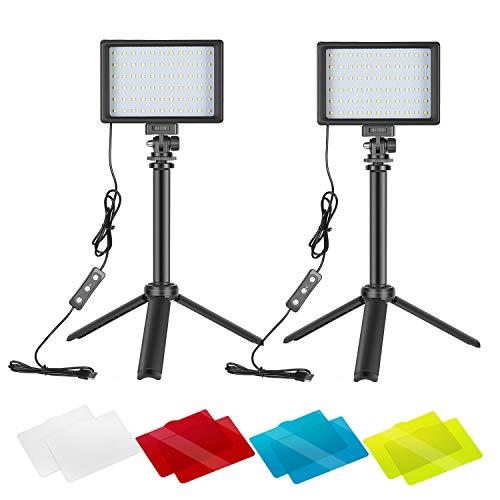 Neewer 2 Packs Kit Iluminación Fotografía Portátil Regulable 5600K USB 66 Luz Video LED con Mini Trípode Ajustable Filtros Color para Fotografía Mesa/Angulo Bajo Video Estudio