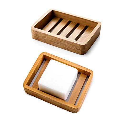 Kaxich Paquete de 2 jaboneras de madera de bambú escurridor de jabón...