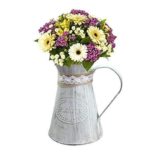 Sue Supply - Jarrón de jarrón de metal, estilo rústico, estilo shabby chic, para decoración del hogar