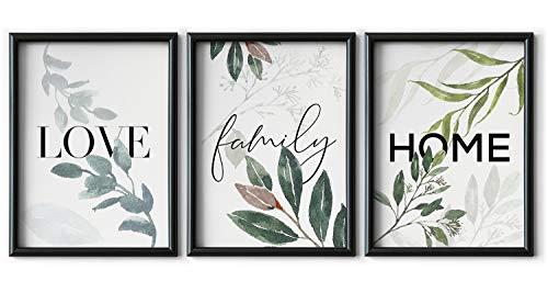 Set de 3 Láminas Decorativas Nórdicas de LOVE/FAMILY/HOME para Enmarcar - A3 A4 - Decoración de Pared - Cuadros Modernos en Lienzo sin Marco, LSM-SET3-005-A4