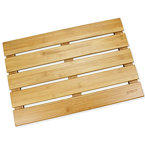 SMIBUY Alfombrilla de baño de bambú, Alfombrilla Antideslizante para...