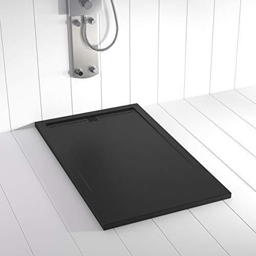 Shower Online Plato de ducha Resina FLOW - 70x140 - Textura Pizarra - Antideslizante - Todas las medidas disponibles - Incluye Rejilla Color Negro y Sifón - Negro RAL 9005