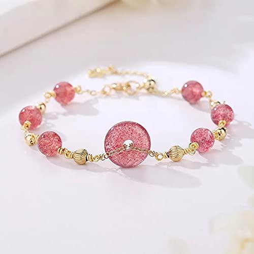 QiuYueShangMao Joyas para Adultos Lucky Round Pink Natural Strawberry...