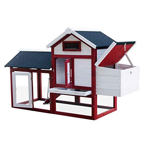 WilTec Gallinero con nidos y Corral Caseta con Suelo extraíble tejado Plegable Casa gallinas Rojo y Blanco