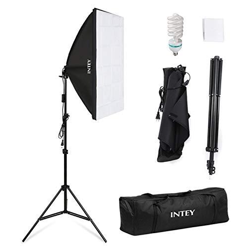 Intey Softbox Iluminacion Kit Fotografia con Luz Continua Ventana de Luz 50x70cm, Tripode , Bombilla 85W de Fotografía de Estudio Fotográfico