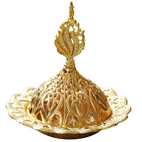 VORCOOL 1 quemador de incienso de metal hueco torre de oro quemador de aceite estilo árabe titular de incensario exquisita decoración del hogar