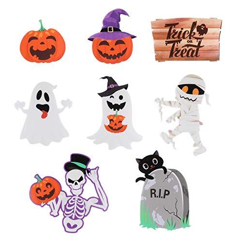 Tomaibaby Decoraciones de Patio de Halloween 8 Piezas Lindas Decoraciones de Patio de Césped de Tema de Halloween Truco O Trato Feliz Halloween Carteles de Patio de Fiesta de Halloween
