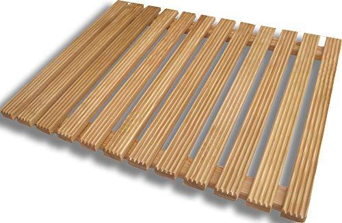 Castelmerlino Tarima para ducha en madera de alerce 55x69 cm para...