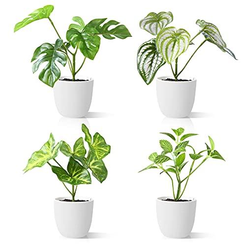 CROSOFMI Plantas Artificiales Interior 15 cm Mini Plastico Macetas Pequeñas Decorativas Plantas Falsas Habitacion Modernos Decoracion (4 Pack)
