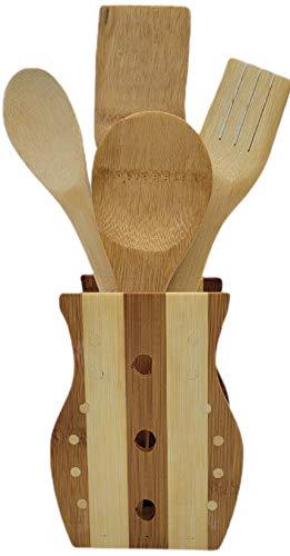 Utensilios Cocina 5 Piezas Menaje Bambú   Organizador Juego De Cubiertos Palos De Madera Porta Accesorios