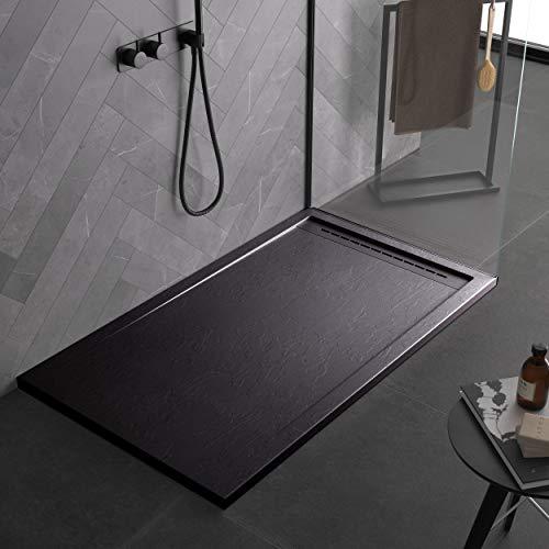 Plato de ducha negro de mineralmármol con efecto pizarra serie Paris...