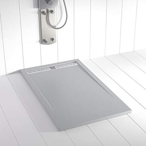 Shower Online Plato de ducha Resina FLOW - 70x80 - Textura Pizarra - Antideslizante - Todas las medidas disponibles - Incluye Rejilla Inox y Sifón - Gris RAL 7035
