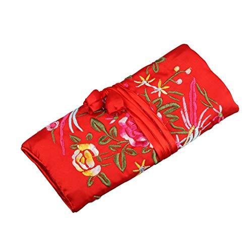 Desconocido Moregirl Oriental Silk Jewellery Roll Wrap Jewelry Pouch...