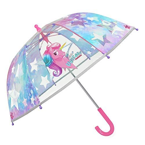 PERLETTI Paraguas Niña Unicornio Transparente y Lila - Sombrilla con...