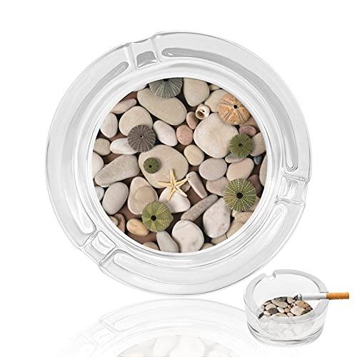 Cenicero de cristal redondo con piedras irregulares de 3,4 x 3,3...