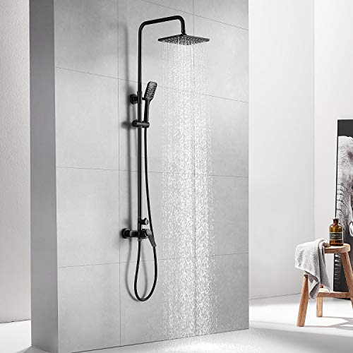 Auralum Columna ducha negro con grifo Monomando, Conjunto de ducha de...