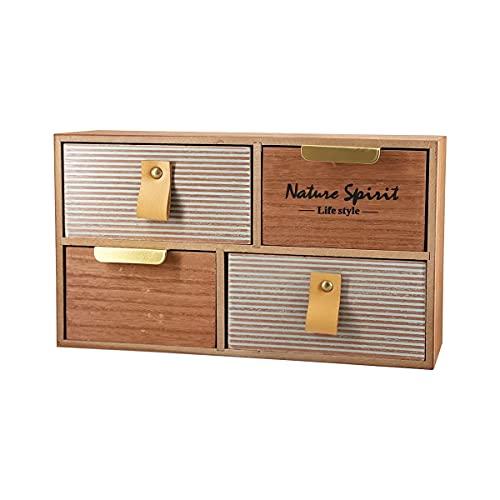 Caja de Madera Almacenamiento Joyero Organizador con Cajón Vintage...