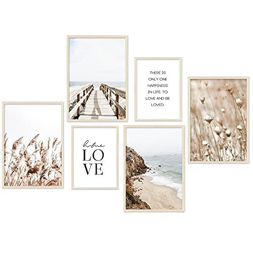 Moderno juego de pósteres Love en beige, playa, juncos, póster de...