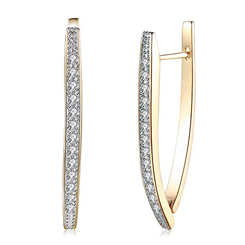 AOAVOV 14K Pendientes plata anillo de circonio cúbico pendientes aro...