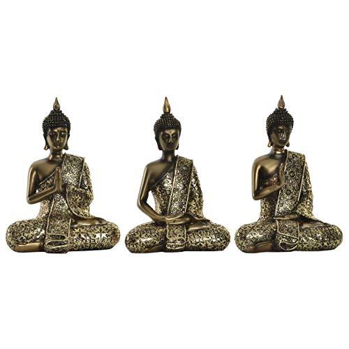 Figura de Buda Dorado para decoración. Diseño WABI Sabi Zen 14.5 x 19.5 cm- Hogar y más. - C