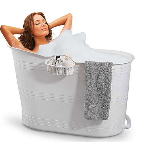 FlinQ Bañera Blanco | Bañera portátil para adultos | Ideal para...