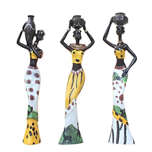 MAYOKIAAR Esculturas de resina de señora africana, hechas a mano y pintadas, figura africana, figura tribal de señora, exquisitamente decoración para el hogar/la oficina, juego de 3