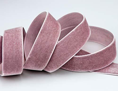 finemark Cinta de terciopelo rosa envejecido, rosa y gris (263 rosa...