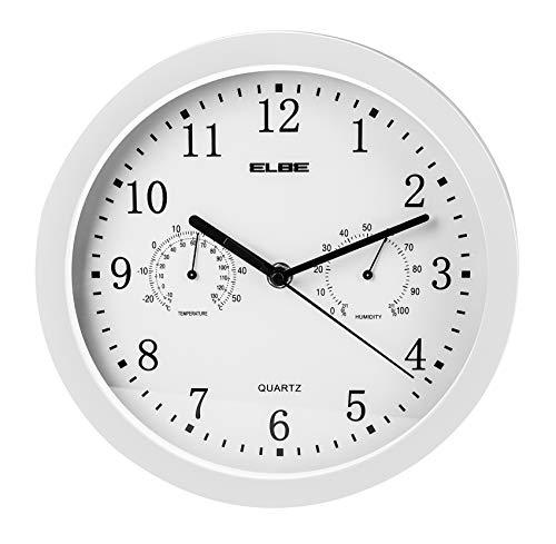 ELBE RP-2005-B Reloj de pared con termómetro e higrómetro, mide...